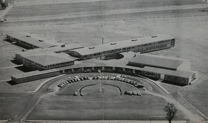 aerial shot of Octorara Area High School in 1956
