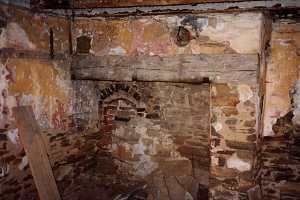 An old brick fireplace