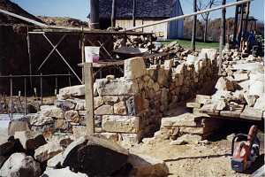 a natural stone wall installation