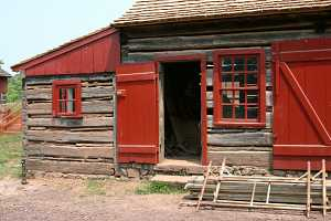 old log cabin before restoration