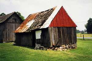 a dilapidated shed with a rusted and destroyed roof