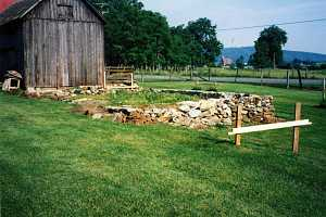 an old shed stone foundation