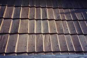 close-up of new wooden roof