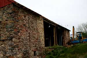 disassembly of an old barn in preparation for restoration