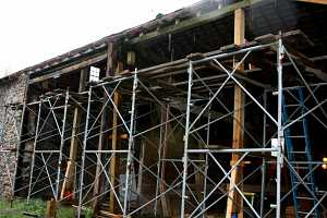 scaffolding set up for barn restoration