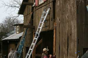 barn walls being disassembled
