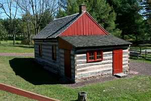 restored log cabin exterior