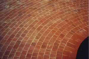 a circular brick patio