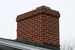 A fully repaired brick chimney