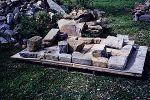 Stone being laid out for a chimney