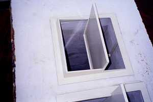 Looking down a flue damper
