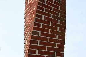 A twisted brick chimney
