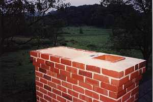 Top of a brick chimney