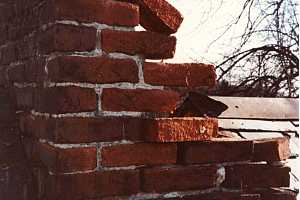 A broken brick chimney