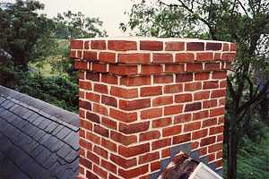 A restored brick chimney
