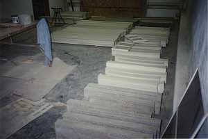 a shop where custom concrete castings are being assembled