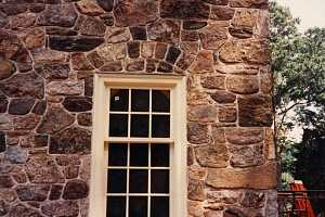 Restored custom stone window frame