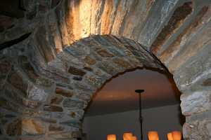 Close-up of a stone arch doorway