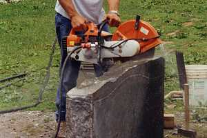 Cutting of a new gravestone