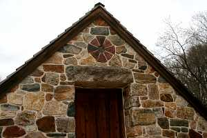 A stone chapel with custom cut stone