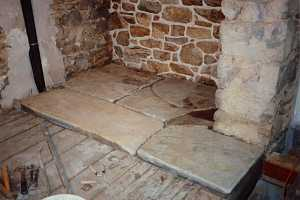 new stone laid in preparation for installation in new fireplace hearth