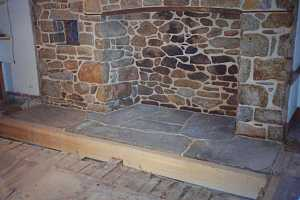 new fireplace hearth being constructed