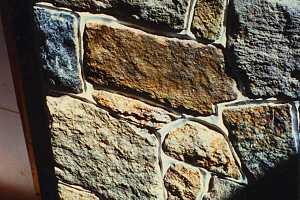 closeup of natural stone fireplace