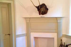 a repaired wall and fireplace area where a stuffed animal head hangs above - after