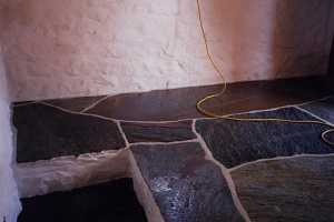 A finished stone floor
