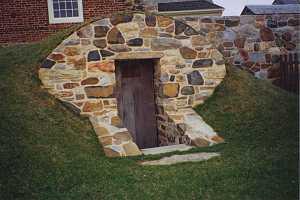A restored underground stone spring house