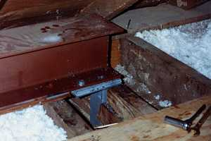 a steel beam installed in an attic