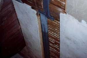 a reinforced wall with a steel beam installed