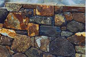 close up of a stone retaining wall