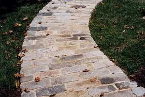 a curved stone walkway
