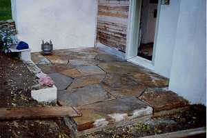 a newly installed stone patio