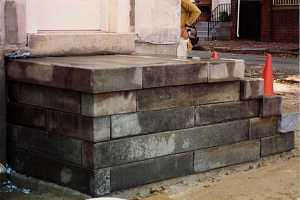 a nearly completed stone step project